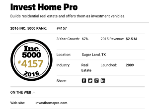 Invest Home Pro, Ranks On 2016 Inc. 5000 List of America's Fastest-Growing Private Companies